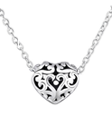 C430-C32233 - 925 Sterling Silver Filigree Caged Heart Necklace