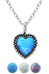 C562-C27078 - Sterling Silver Opal Heart Necklace 7mm, 45cm chain