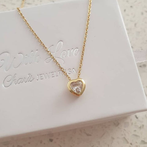SS7-CB0151403- Gold Stainless Steel Cubic Zirconia Heart Necklace