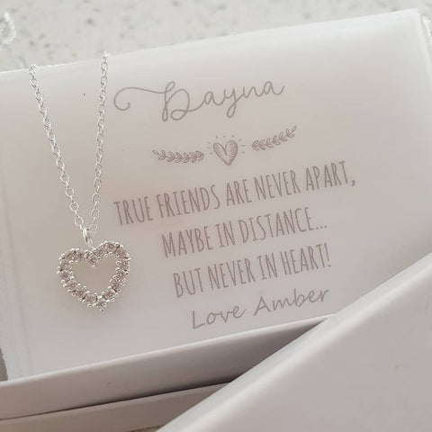 A154-C40198 - 925 Sterling Silver CZ Necklace with Note, 10mm on 45cm chain