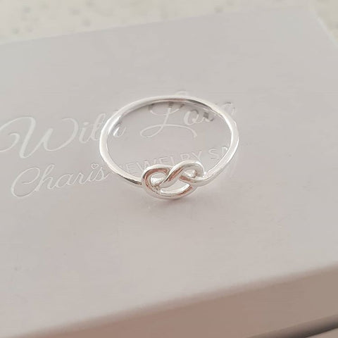 Silver heart knot ring, love or friendship ring