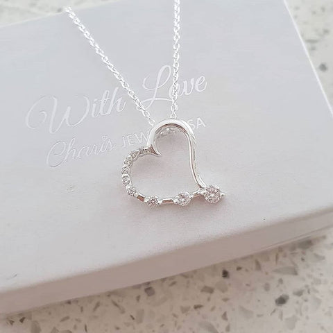 C1297-C25690 - 925 Sterling Silver CZ Stones Heart Necklace