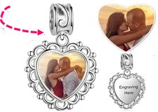Personalized heart photo charm dangle