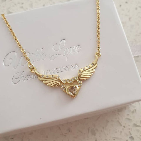 SS4-CB0223299 - Gold Stainless Steel Cubic Zirconia Heart Wings Necklace