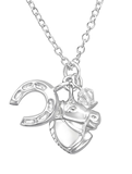 Sterling Silver Horse and Horse Shoe Necklace online South Africa