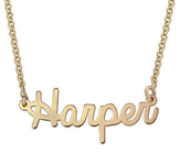 N37 - Tiny Sterling Silver Cursive Name Necklace in 18k Gold Plating