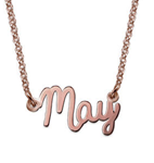 N39 - Tiny Sterling Silver Cursive Name Necklace in 18K Rose Gold Plating
