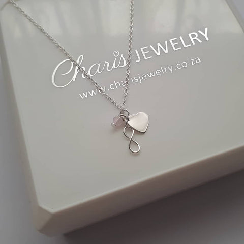 C610-C35339 - Sterling Silver Small Heart, Infinity & Light Rose Crystal Necklace
