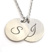 EJ91 - Personalized Initial Disc Necklace, Stainless Steel