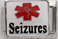 E-137 - Medical Alert, Seizures, Stainless Steel Italian Charm Link