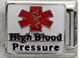 E-138 - Medical Alert, High Blood Pressure, Stainless Steel Italian Charm Link