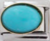 E-149 - Turquoise Oval Italian Charm Link, Stainless Steel