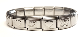 EST07 - Princess Italian Charm Starter Bracelet, Stainless Steel (Adjustable Size)