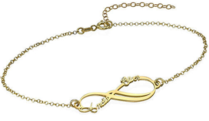 N165 - Infinity 2 Names Bracelet with 18K Gold Plating over Sterling Silver
