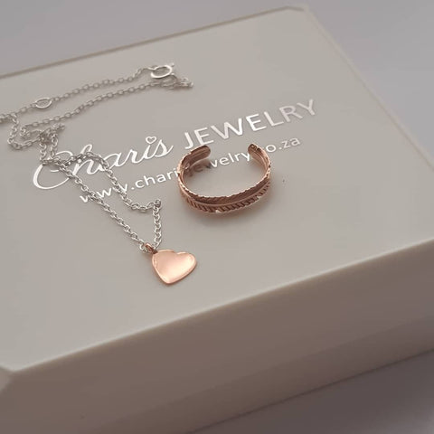 C1169-C29980+C1171 - Rose Gold & 925 Sterling Silver Heart Ankle Chain & Toe Ring