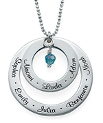N86 - Grandma Birthstone Necklace in Sterling Silver