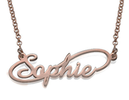N41 - Infinity Style Sterling Silver Name Necklace with 18K Rose Gold Plating.