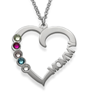 N88 - Birthstone Heart Necklace in Sterling Silver
