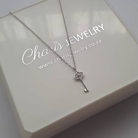 C957-C38190 - 925 Sterling Silver CZ Key / 21st Key Necklace