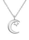 C912-C34038 - 925 Sterling Silver Moon and Star Necklace
