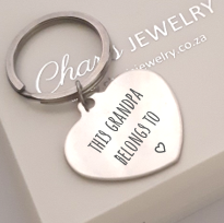 KR18 - Personalized Heart Keyring, Stainless Steel