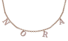 N155 - Name Choker Necklace in 925 Sterling Silver and plated in 18K Rose Gold - Up to 8 Characters