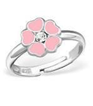 B113-C27722 - 925 Sterling Silver Children's Flower Ring, pink heart petals and crystal
