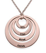 N69 - Four Open Circles Necklace with Engraving in Rose Gold Plated Sterling Silver.