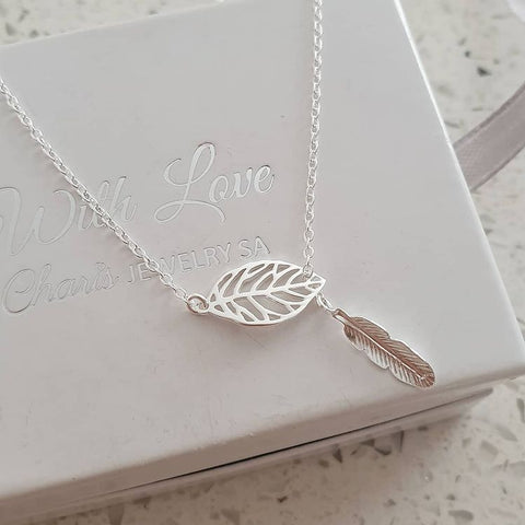 A163-C40693 - 925 Sterling Silver Leaf Y Necklace, 8x14mm on 45cm chain