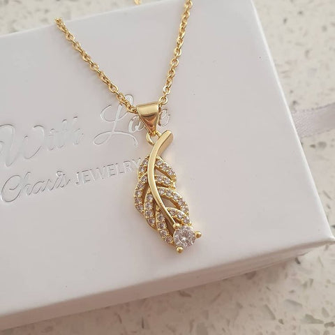 SS3-CB0154445 - Gold Stainless Steel Cubic Zirconia Leaf Necklace
