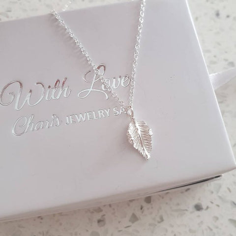 C1394-C40043 - 925 Sterling Silver Leaf Necklace
