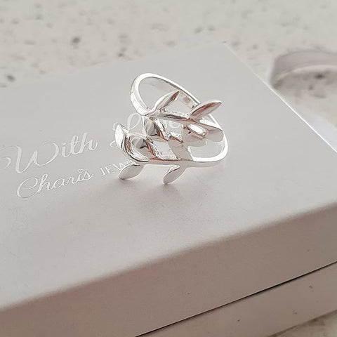 A118-C38957 - 925 Sterling Silver Leaf Ring