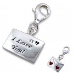 C8-C7514 - 925 Sterling Silver Charm Dangle, I love you Letter