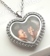 FL5 - Personalized Heart Locket Necklace with Photo, Silver Stainless Steel