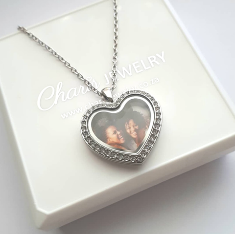 FL58 - Personalized Photo Heart Locket Necklace, Silver Stainless Steel