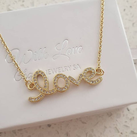 SS11-CB0111312 - Gold Stainless Steel Love Necklace