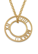 N144 - Roman Numeral 925 Sterling Silver Circle necklace in 18K Gold Plating