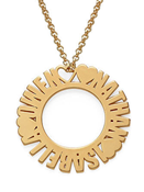 N148 - Circle Name Sterling Silver Necklace in 18K Gold Plating - Up to 3 Names