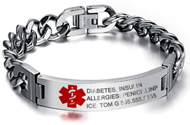 EJ98 - Personalized Titanium Steel Medical Alert Men's Bracelet