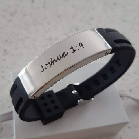 CBA102176- Personalized Black Wrist Strap Bracelet, Stainless Steel, Adjustable