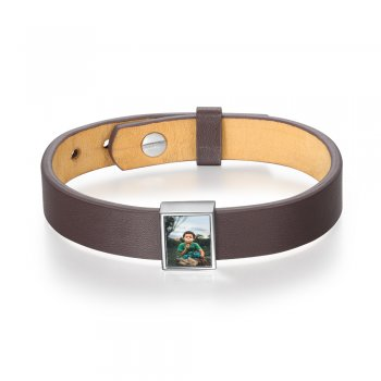 CBA103960 - Men's Personalized Photo Bracelet Strap, Stainless Steel