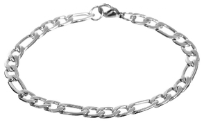 C286-CB0084346 - Men's Figaro Link Chain Bracelet, Stainless Steel
