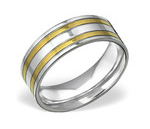C467-C31851 - Men's High Polished Gold and Silver Stainless Steel Ring