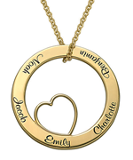 N132 - Family Love Circle Pendant Sterling Silver Necklace with 18K Gold Plating