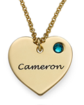 N133 - 925 Sterling Silver with 18K Gold Plating Engraved Heart Necklace and Birthstone