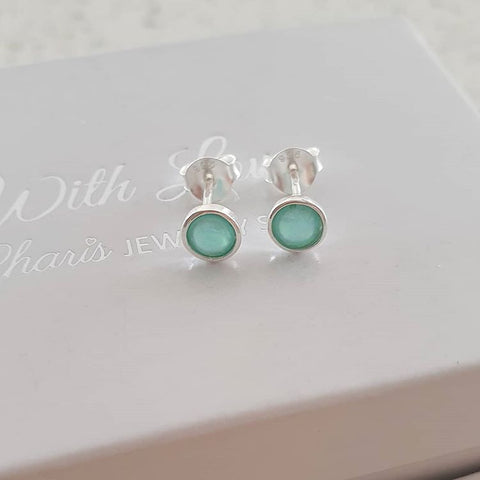 silver mint opal earrings