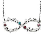 N143 - Infinity Sterling Silver 4 Names Necklace with Birthstones