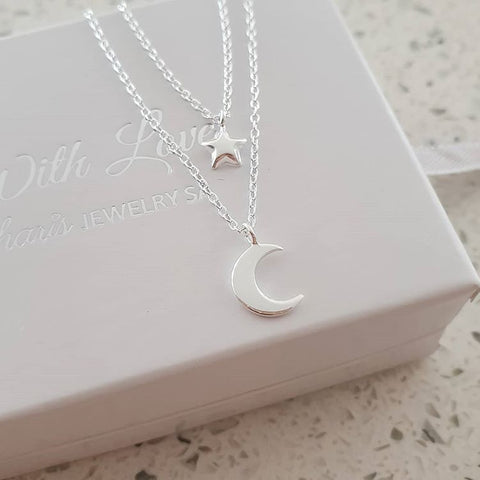 C1353-C32998 - 925 Sterling Silver Moon and Star Necklace