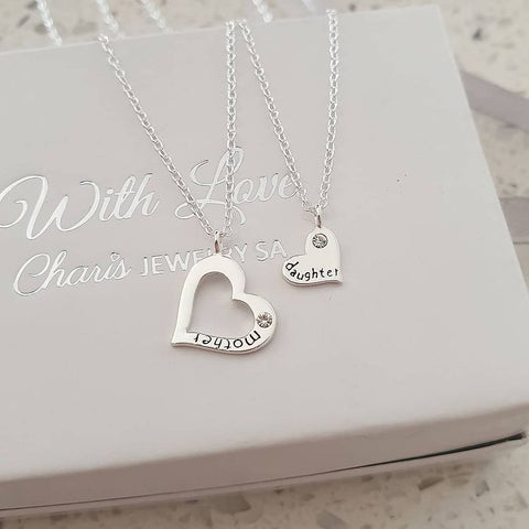 C741-C26389 - 925 Sterling Silver CZ Mother Daughter Necklace Set