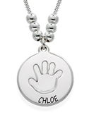 N810 - Sterling Silver Mothers Personalized Baby Hand Print Necklace (up to 3 pendants)